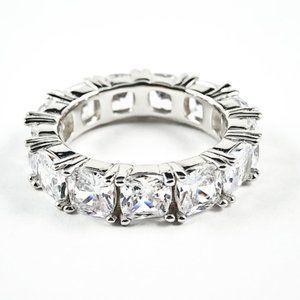 Jewelry - Beautiful CZ Cushion Eternity Silver Band Ring